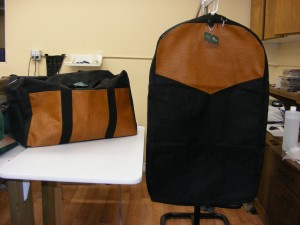 Garment Bag with Matching Medium Rigging Bag- Faux Leather Trim