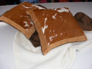 Cow Hide and Leather Trim Pillows